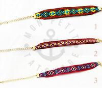►► Bracelet Femme BOHEME WRAP CHIC 2016 Perles Tissu Tresse Brésilien Mishky