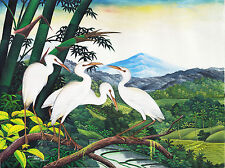Hand painting Balinese Storks Cranes 288