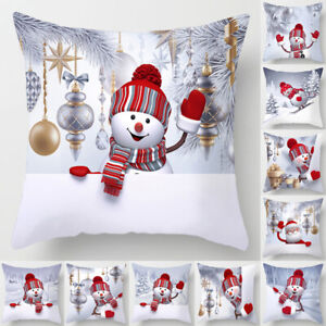 45cm*45cm Christmas Sofa Pillow Case 3D Cute Snowman Cushion Cover Xmas Decors