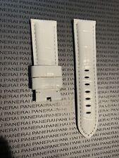 Panerai White OEM Alligator Strap Regular Length 24mm Lug for Tang Buckle