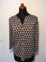 H&M Damen Top Shirt Schwarz Weiß 3/4 Arm Locker Elegant Büro Job Freizeit