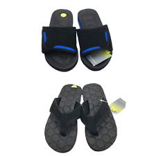 New Tek Gear Youth Boys Slide Sandals Flip Flop Summer Slippers Black Blue