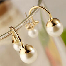 Cute New Double Round Pearl Beads Alloy Gold Plated Charms Stud Earrings Jewelry