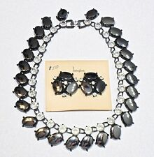 Vintage BERGERE Hematite Glass Rhinestone Statement Necklace & Earrings Set Lot