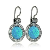 Antique Style 925 Sterling Silver Blue Fire Opal Earrings with Floral Design