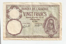 1942 Bank of Algeria 20 Francs ~ Allied Military Currency