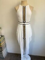 SASS & BIDE Size 6 Blazing Prose Dress White Elegant Metallic Gold Embroidery