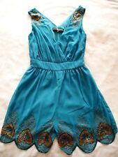 LITTLE MISTRESS ASOS Turquoise Blue PLAYSUIT ROMPER Size UK 8 Beaded Peacock Eve