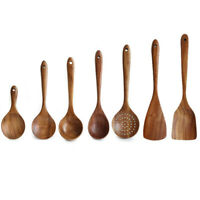 Wooden Cooking Utensil Set Kitchen Bamboo Spoons Spatula Tools Wood Kit 1PCS Set