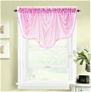 1PC WEAVY BEADED WATERFALL VALANCE VOILE SHEER WINDOW CURTAIN ROD POCKET TOPPER
