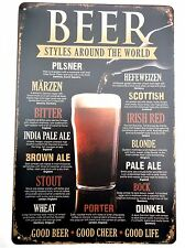 BEER STYLES METAL TIN SIGNS vintage cafe pub garage decor retro kitchen