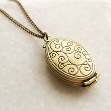 Family Locket Necklace - Four Photo Swirl Pendant - Long Chain - Vintage Style
