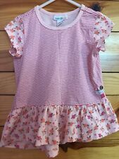 Naartjie Gray Striped & Floral Top Girls Pink Mix Print Shirt Size 2T