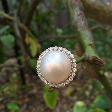 Perfect AAAsharp luster White Mabe pearl 15mm 1ct white round diamond 18K Ring