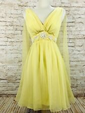 Vintage 50's Lemon Yellow Chiffon Pin Up Rockabilly Party Prom Glam Dress S