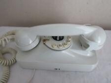 VTG GRAND WALL PHONE TELEPHONE RETRO 80's OFF WHITE ROTARY FLASH REDIAL-EUC