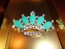 LARGE CROWN BLUE RESIN AND WHITE CRYSTAL RHINESTONE BROOCH