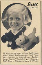 Steiff Hund & Hund & Mädchen Reklame 1934 Werbung