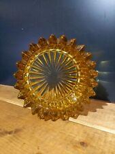 VINTAGE 1970S HEAVY RIBBED Amber glass ashtray 24 POINT
