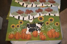 New listing Cow and chicken Placemats Country Farm Fabric Set Of 4