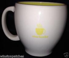 STARBUCKS COFFEE MUG 2003 BARISTA MUG 16 OZ YELLOW & WHITE