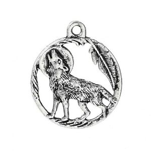 5 x Tibetan Silver Wolf  Charms Round Pendants