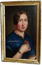 Ölgemälde: Romantisches Damenportrait, Biedermeier, Öl auf Papier/Lwd. um 1830