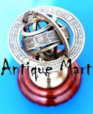 "Nautical Brass Armillary Base Wood Globe Sphere Maritime Office/Home Decor 5"""