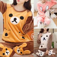 Women Pajamas Sets Thick Coral Velvet Suit Flannel Cartoon Bear Pants Sleepwear~