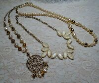 VINTAGE TO NOW ASSORTED FAUX PEARL & LUCITE BEADED PENDANT NECKLACE LOT