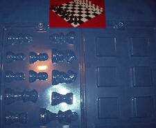 3D CHESS PIECES AND BOARD SQUARES CHOCOLATE MOULD - 2 piece set