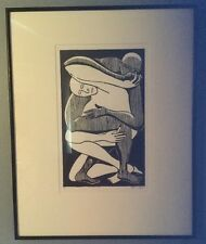 """""""Two Fold"""" Framed Block Print Illustration By Marvin Hill 17/35"""