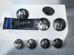 CLAUDE MONTANA: Set of 8 Round Metal Buttons & Tag [gaultier / mugler]
