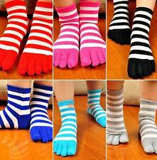 6 Pairs Women's Socks Stripe Pure Cotton Sports Five Finger Socks Toe Socks