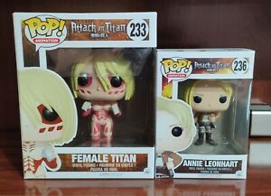 Funko pop FEMALE TITAN n° 233 & ANNIE LEONHART n° 236 attack on titan RARE!