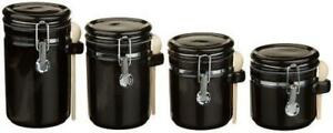 Anchor Hocking 4-Piece Ceramic Canister Set with Clamp Top Lid and Wooden Spoon,
