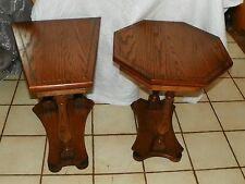 Pair of Solid Oak Inlaid End Tables with Walnut Trim  / Side Tables  (T413)