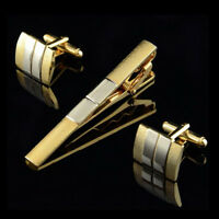 Golden Copper Mens Business Wedding Shirt Cufflinks and Necktie Tie Clip Set MO