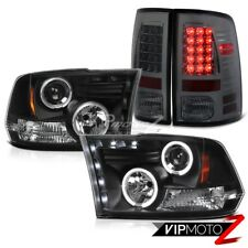 2009-17 Dodge Ram Smoke LED Tail Lights L+R Black HaLo Projector Headlight Lamp