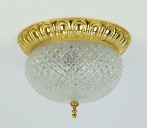 vintage soelken ceiling LAMP flush mount textured glass and gilt aluminum 1970s