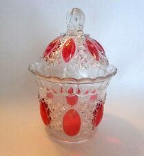 """VINTAGE PRESSED CLEAR GLASS DECANTER w/ PINK DROPS THROUGHOUT & LID ,7"""" TALL"""