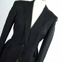 Womens Black Suit Jacket 10 Suit Essential Cotton Regular Hip Length Herringbone
