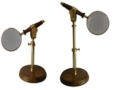 """WOOD & brass 4"""" BRASS MAGNIFYING GLASS ON FOLDING STAND REPLICA"""