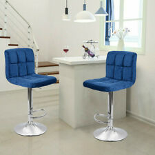 Set Of 2 Bar Stools Velvet Fabric Adjustable Counter Dining Chair Swivel Kitchen