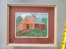 Rustic Old Barn Print Chew Mail Pouch Tobacco Advertising wood frame