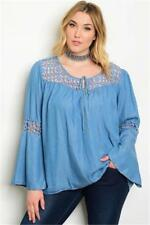 NEW..Very Stylish Plus Size Denim Blue Top with Bell Sleeves..SZ22/3XL