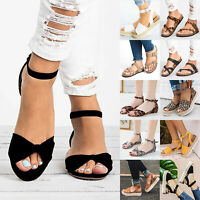 Ladies Women Peep Toe Espadrilles Flat Ankle Strap Sandals Summer Buckle Shoes