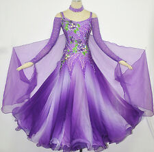 Ballroom Competition Dance Dress Purple White Fading Waltz Gown Custom Made US8