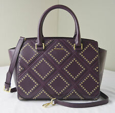 Michael Kors Plum Purple Leather Diamond Grommet Selma Medium Top Zip Satchel