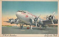 TWA Stratoliner LaGuardia Field Linen Postcard
